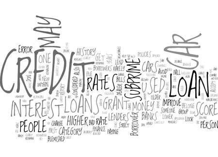 A CAR LOAN FOR PEOPLE WITH BAD CREDIT TEXT WORD CLOUD CONCEPT