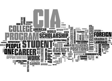 A CAREER WITH THE CIA TEXT WORD CLOUD CONCEPT