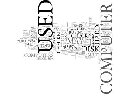 failures: A CHECKLIST FOR USED COMPUTERS TEXT WORD CLOUD CONCEPT Illustration