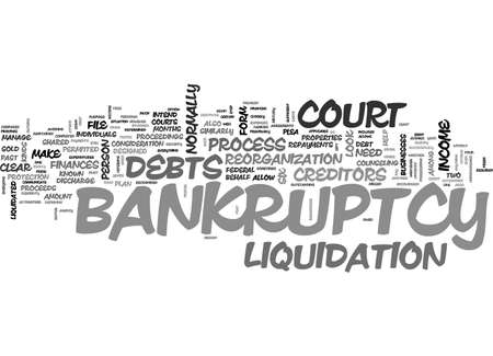 A CLOSER LOOK AT BANKRUPTCY TEXT WORD CLOUD CONCEPT Illustration