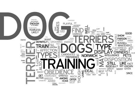 A GLIMPSE ON THE VARIOUS TYPES OF TERRIER DOGS TEXT WORD CLOUD CONCEPT Çizim