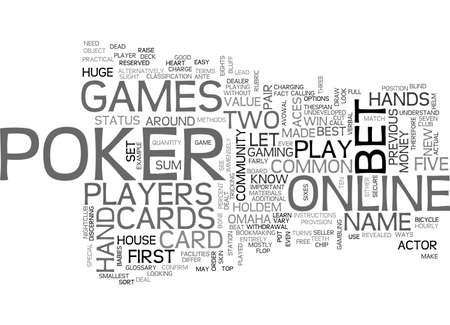 A GLOSSARY OF ONLINE POKER TERMS TEXT WORD CLOUD CONCEPT
