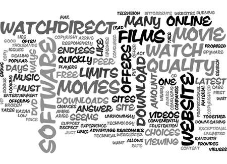 A GOOD WEBSITE TO WATCH MOVIES ONLINE TEXT WORD CLOUD CONCEPT Иллюстрация