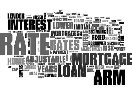 조정 가능한 이자율 대출 융자 텍스트 단어 개념에 대한 안내
