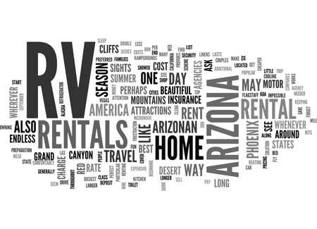 rentals: A GUIDE TO ARIZONA RV RENTALS TEXT WORD CLOUD CONCEPT