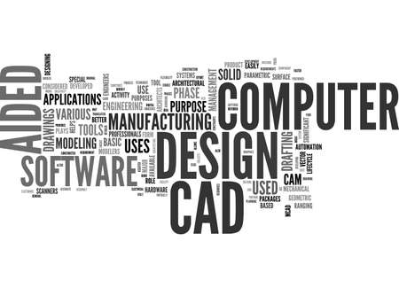 A GUIDE TO COMPUTER AIDED DESIGN TEXT WORD CLOUD CONCEPT Stock Illustratie