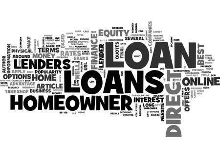 A GUIDE TO DIRECT HOMEOWNER LOANS TEXT WORD CLOUD CONCEPT