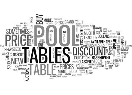 A GUIDE TO DISCOUNT POOL TABLES TEXT WORD CLOUD CONCEPT Illustration