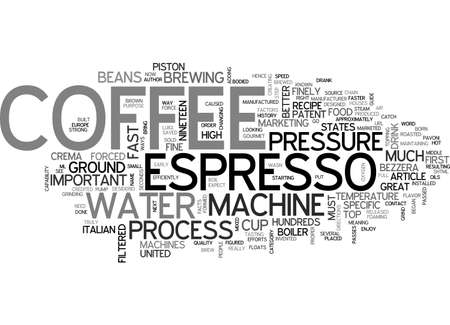 finely: A GUIDE TO ESPRESSO MACHINES TEXT WORD CLOUD CONCEPT Illustration
