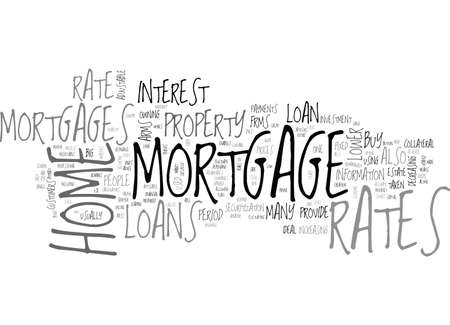 A GUIDE TO HOME MORTGAGE RATES TEXT WORD CLOUD CONCEPT Иллюстрация