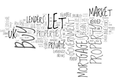 A BRIEF HISTORY OF BUY TO LET MORTGAGES TEXT WORD CLOUD CONCEPT Ilustração