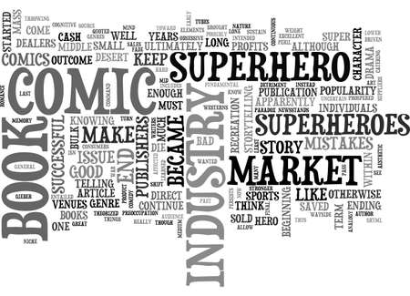 A COMEDY OF COMIC BOOK INDUSTRY ERRORS TEXT WORD CLOUD CONCEPT