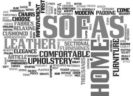 A COMFORTABLE SOFA FOR YOUR HOME TEXT WORD CLOUD CONCEPT Ilustração