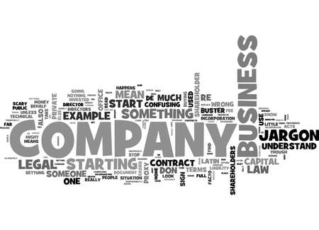 jargon: A COMPANY LAW JARGON BUSTER TEXT WORD CLOUD CONCEPT