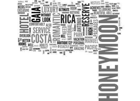 uncluttered: A COSTA RICA HONEYMOON AT THE GAIA HOTEL RESERVE TEXT WORD CLOUD CONCEPT Illustration