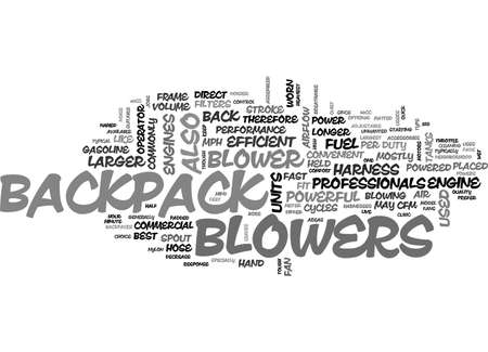 BACKPACK BLOWERS TEXT WORD CLOUD CONCEPT