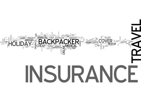 BACKPACKER TRAVEL INSURANCE TEXT WORD CLOUD CONCEPT