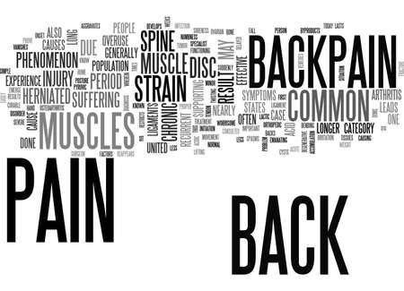 overuse: BACKPAIN A COMMON PHENOMENON TEXT WORD CLOUD CONCEPT