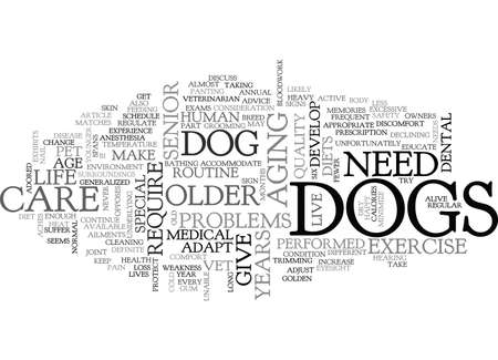 fewer: A DOGS GOLDEN YEARS TEXT WORD CLOUD CONCEPT