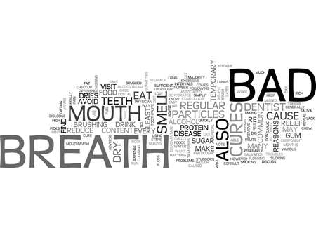BAD BREATH CURES TEXT WORD CLOUD CONCEPT