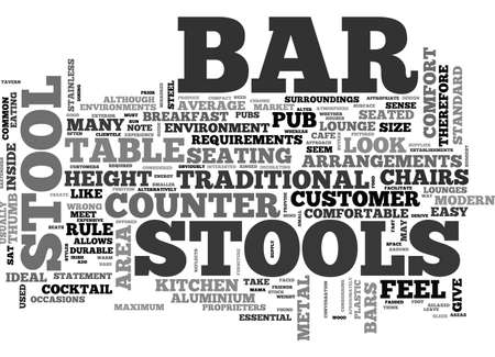 BAR STOOLS A BUYERS GUIDE TEXT WORD CLOUD CONCEPT Ilustração
