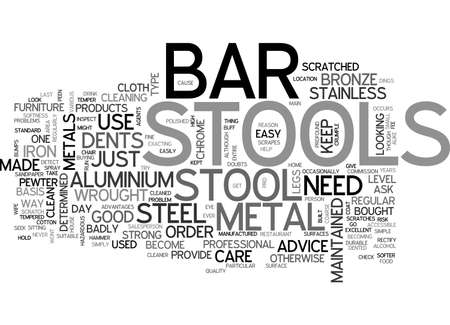 bought: BAR STOOLS MADE FROM VARIOUS METALS TEXT WORD CLOUD CONCEPT Illustration