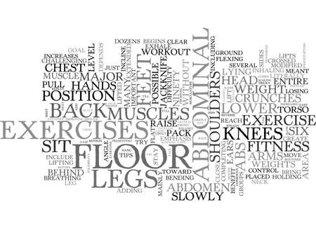 A FITNESS ROUTINE FOR SIX PAK ABS TEXT WORD CLOUD CONCEPT