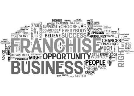 A FRANCHISE BUSINESS IS NOT THE RIGHT OPPORTUNITY FOR EVERYBODY TEXT WORD CLOUD CONCEPT