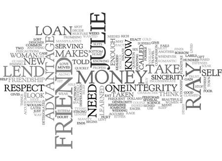 julie: A FRIEND IN NEED TEXT WORD CLOUD CONCEPT