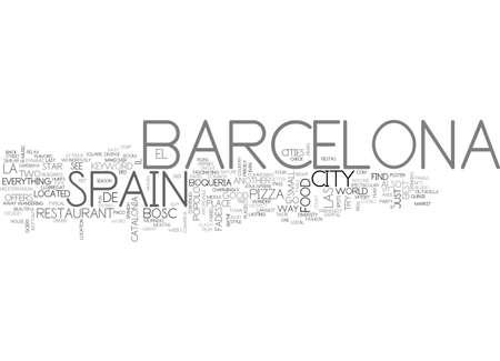 バルセロナ スペインのテキスト単語雲の概念