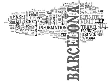 BARCELONA THE MODERN EUROPEAN CITY COOL TIPS FROM A TRAVEL JUINKIE TEXT WORD CLOUD CONCEPT