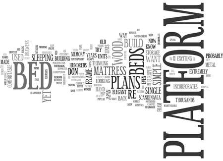 A GUIDE TO PLATFORM BED PLANS TEXT WORD CLOUD CONCEPT