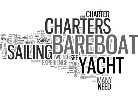 BAREBOAT YACHT CHARTERS SAVE MONEY WITH A BAREBOAT CHARTER TEXT WORD CLOUD CONCEPT