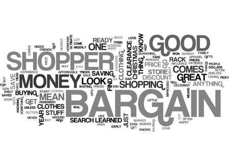 BARGAIN SHOPPER TEXT WORD CLOUD CONCEPT Illustration