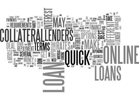 A GUIDE TO QUICK ONLINE LOANS TEXT WORD CLOUD CONCEPT