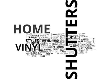 mounting: A GUIDE TO VINYL SHUTTERS TEXT WORD CLOUD CONCEPT Illustration