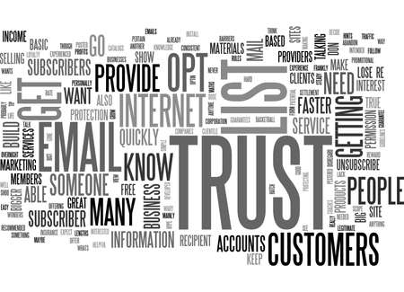 unsubscribe: A HEALTHY DOSE OF TRUST WORKS WONDERS WITH YOUR EMAIL LIST TEXT WORD CLOUD CONCEPT Illustration