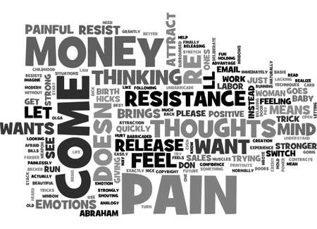 A NICE MIND TRICK TO RELEASE YOUR RESISTANCE TO MONEY TEXT WORD CLOUD CONCEPT