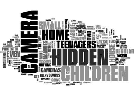 당신의 집에있는 숨겨진 카메라 텍스트 단어 개념 일러스트
