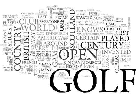 A HISTORY OF GOLF TEXT WORD CLOUD CONCEPT Ilustração