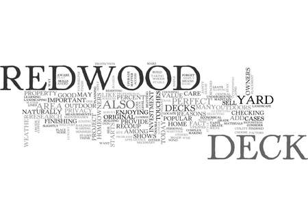 A PERFECT DECK STARTS WITH REDWOOD TEXT WORD CLOUD CONCEPT