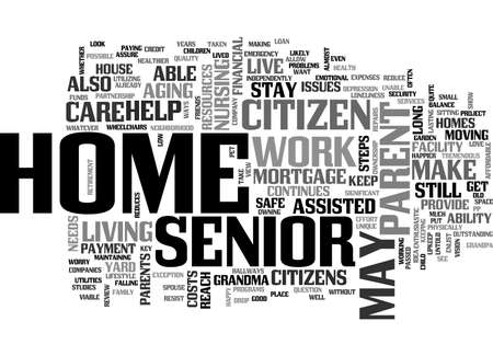 A HOME FOR GRANDMA TEXT WORD CLOUD CONCEPT Illustration