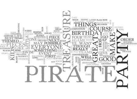 BIRTHDAY PARTY 텍스트 단어 구름 개념의 해적