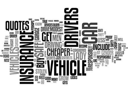 A LADY GETS A CHEAP CAR INSURANCE QUOTE TEXT WORD CLOUD CONCEPT