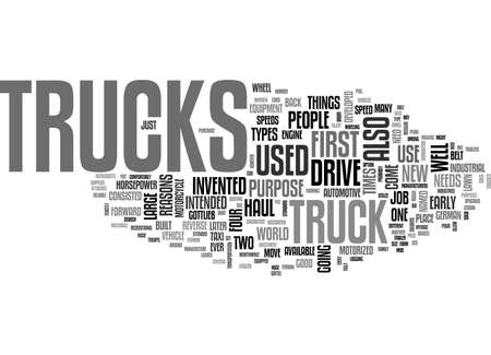 A LESSON ABOUT THE GOOD OLD TRUCKS TEXT WORD CLOUD CONCEPT Ilustrace