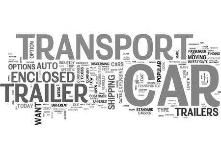 A LOOK AT CAR TRANSPORT TRAILERS TEXT WORD CLOUD CONCEPT