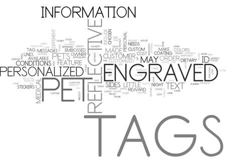 A LOOK AT CUSTOM PET TAGS TEXT WORD CLOUD CONCEPT