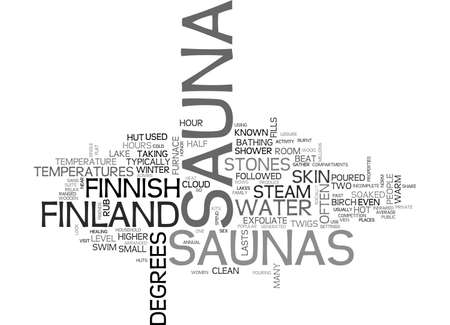 A LOOK AT FINNISH SAUNAS TEXT WORD CLOUD CONCEPT Illustration