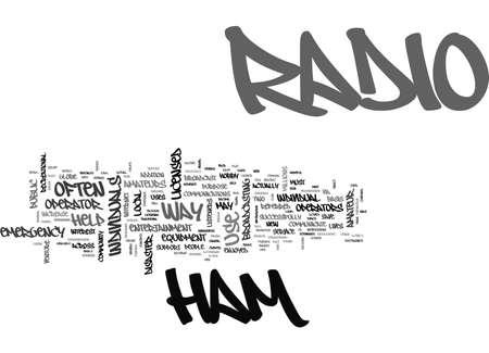 EEN BLIK NAAR HAM RADIO TEKST WORD CLOUD CONCEPT Vector Illustratie