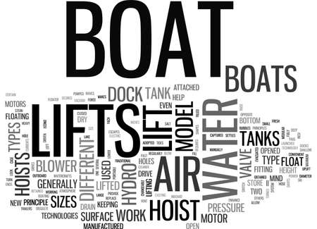 hoists: A LOOK AT HOW BOAT LIFTS WORK AND THE DIFFERENT TYPES TEXT WORD CLOUD CONCEPT Illustration